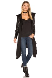 Blank Nyc Hooded Drape Front Coat Black