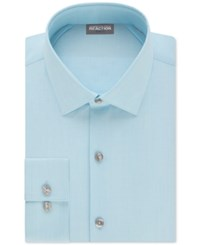 Kenneth Cole Reaction Techni Cole Stretch Slim Fit Solid Dress Shirt Lake Blue
