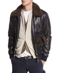 Brunello Cucinelli Leather Aviator Jacket With Shearling Fur Trim Navy