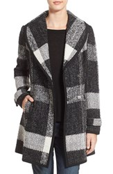 Guess Women's Shawl Collar Plaid Coat Black White Plaid