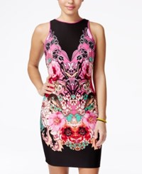 Xoxo Juniors' Printed Scuba Bodycon Dress Multi
