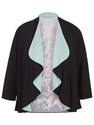 Chesca Border Floral Jersey Shrug Black