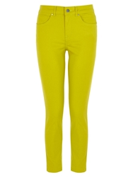 Karen Millen Coated Cropped Skinny Jeans Lime