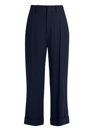 Chloe Wide Leg Cady Cropped Trousers Navy