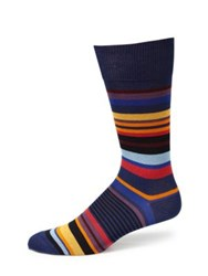 Paul Smith Striped Patterned Socks Navy Black