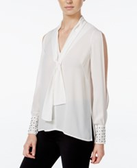Xoxo Juniors' Studded Split Sleeve High Low Blouse Ivory