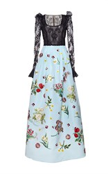 Andrew Gn Floral Embroidered Gown Blue