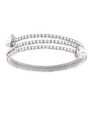 Swarovski Silvertone And Crystal Twisted Bangle Bracelet