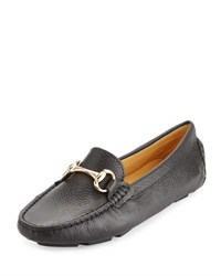 Neiman Marcus Daize Leather Flat Loafer Black
