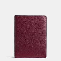Coach Passport Case In Refined Pebble Leather Burgundy