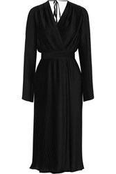 Tome Pleated Wrap Effect Washed Satin Dress Black