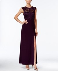 Nightway Banded Lace Cap Sleeve Slit Gown Eggplant