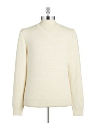 Lucky Brand V Neck Cotton Sweater White