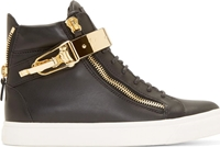 Giuseppe Zanotti Black And Gold Leather London Sneakers
