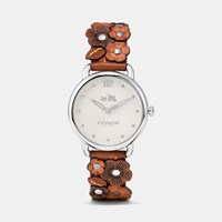 Coach Delancey Leather Strap Watch With Floral Applique Saddle