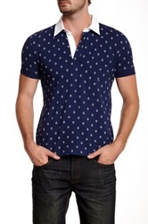 Barque Anchor Print Polo Blue