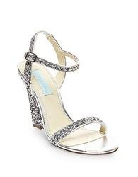 Betsey Johnson Darci Satin And Glitter Wedge Sandals Silver