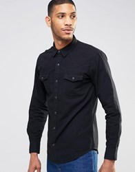 Pull And Bear Pullandbear Western Denim Shirt In Black Black