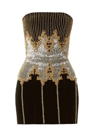 Balmain Bead Embellished Bandeau Dress Black Multi