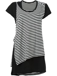 Y's Striped Asymmetric T Shirt Black