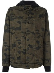 Hudson Camouflage Print Hooded Jacket Green