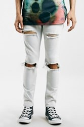 Topman Ripped Stretch Skinny Fit Jeans Light Blue