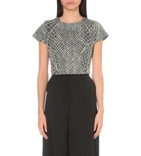 Alice Olivia And Latisha Printed Cotton Blend Cropped T Shirt Grey Off White