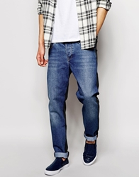 Asos Slim Jeans With Cut And Sew Panel Blue