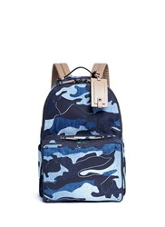 Valentino Camouflage Patchwork Denim Backpack Blue