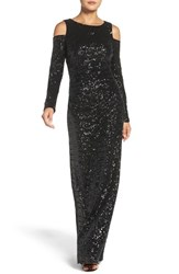 Vince Camuto Women's Cold Shoulder Sequin Gown