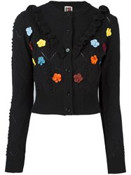 I'm Isola Marras Ruffled Floral Applique Cardigan Black