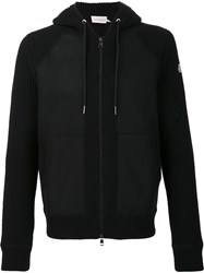 Moncler Knitted Hooded Cardigan Black