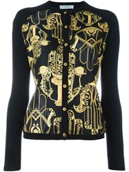 Versace Collection Hamsa Print Cardigan Black