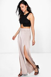 Boohoo Split Front Wide Leg Palazzo Trousers Sand