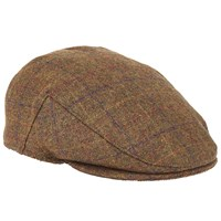 John Lewis Large Check Flat Cap Brown