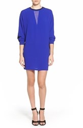 Eleven Paris 'Pauly' Long Sleeve Crepe Shift Dress Zulu Blue