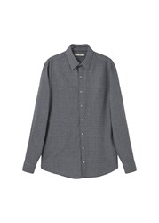 Mango Men's Slim Fit Prince Of Wales Shirt Grey
