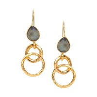 Ottoman Hands Stone And Chain Detail Earrings Grey