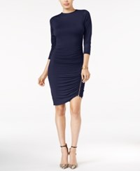 Guess Charlene Ruched Bodycon Dress Evening Navy