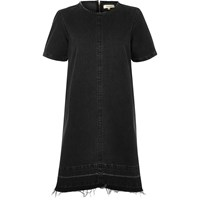 River Island Womens Black Washed Denim T Shirt Dress