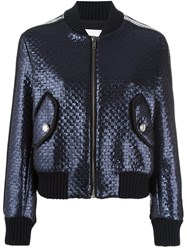 Msgm Cropped Bomber Jacket Blue