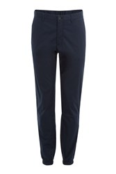 Michael Kors Collection Cotton Chinos With Elasticated Ankles Blue