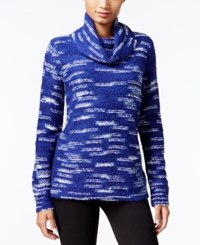 Kensie Space Dyed Cowl Neck Sweater Royal Combo