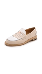 Band Of Outsiders Slipped Heel Penny Loafers Nude White