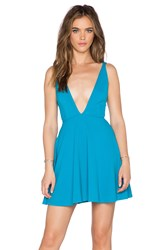 Oh My Love Plunge Skater Dress Blue