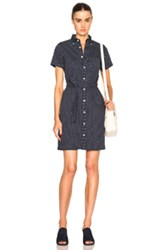 Engineered Garments Button Down Shirt Dress In Blue Geometric Print