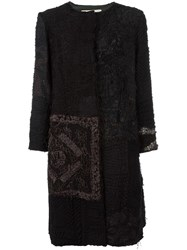 By Walid Hand Dyed Crocheted Panel Coat Black