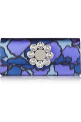Marc Jacobs Double Trouble Embellished Printed Silk Clutch Blue