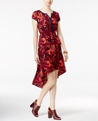 Tommy Hilfiger Floral Print High Low Shift Dress Peacoat Print