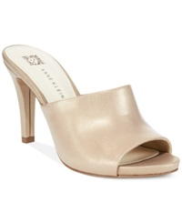Anne Klein Objective Dress Mules Natural Leather